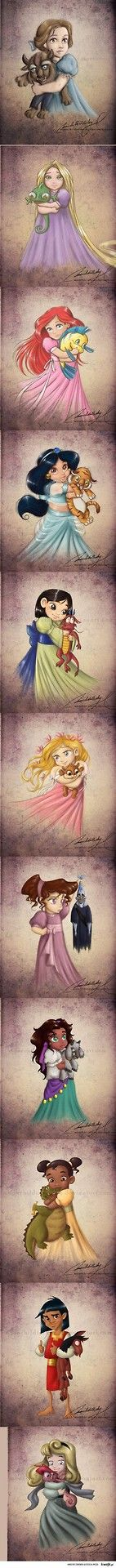 Funny pictures about Little Disney Princesses and Their Pets. Oh, and cool pics about Little Disney Princesses and Their Pets. Also, Little Disney Princesses and Their Pets photos. Walt Disney, Disney Pixar, Disney Amor, Disney E Dreamworks, Disney Films, Disney Love, Disney Magic, Disney Characters, Chibi Disney