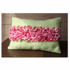 fuzzy fleece lime green and hot pink ruffle pillow (Barbie collection)