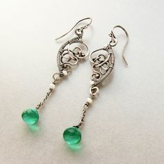Sterling silver and green Quartz gemstone earrings by NoriaJewelry, $92.00