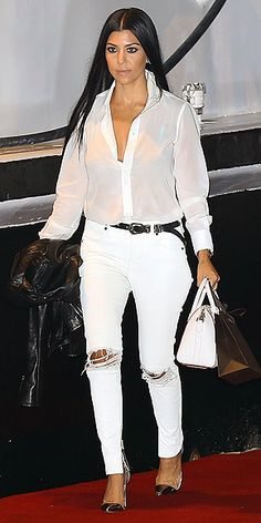 KOURTNEY KARDASHIAN in a sheer white button-down, distressed Frame skinnies, a Saint Laurent belt and metallic cap-toe Gianvito Rossi pumps at NBA star James Harden's birthday party in L. Kourtney Kardashian, Kardashian Style, Kardashian Jenner, Kendall Jenner Style, Female Stars, Jeans, Celebrity Style, Style Inspiration, James Harden