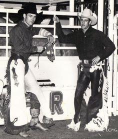 John Holman & Chris LeDoux - Bareback bronc riders from Kaycee, Wyoming - National Finals Rodeo - Oklahoma City, OK