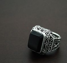 TABLE CUT ONXY VIKING 925 STERLING SILVER US Size 12 BIKER GOTHIC RING ec-r018