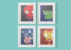 ON SALE 4 Baby Marvel Superheroes Nursery Prints  by 716designs, $29.99