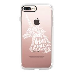 Good Vibes White Unicorn Plus - iPhone 7 Plus Case And Cover (€36) ❤ liked on Polyvore featuring accessories, tech accessories, phone cases, iphone case, clear iphone case, iphone cases, apple iphone case, unicorn iphone case and white iphone case