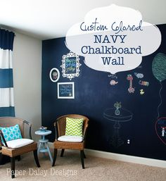If it is possible to love a room, our recent Media Room Makeover, is probably on that love list.I think one of the reasons I love it so, is the Navy Chalkboard Wall.  I also love that such a big impact can happen for less than $30. I've always admired chalkboard walls, but I knew …