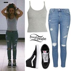 Bea Miller: Grey Tank, Ripped Jeans