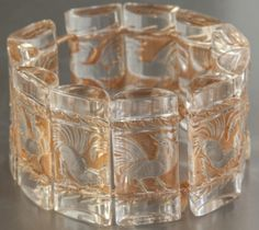 "Lalique 1928 Art Deco Bracelet ""COQ"" White glass"