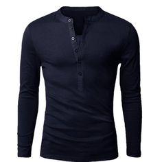 Fashion Button Design Fabric Splicing V-Neck Long Sleeve Slimming Men s  Polyester Polo Shirt Polo 68132a072e