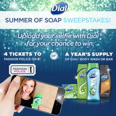Upload your #selfie with Dial in the #SummerofSoap sweepstakes for your chance to WIN Dial products OR a trip to a Hollywood event! I really LOVE My DIAL Bodywash!
