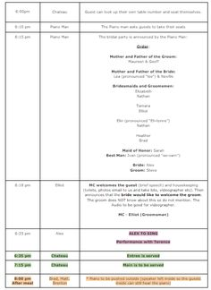 event run sheet template - create your run sheet pinterest create and weddings