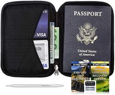 Passport Wallet Travel Size Toiletries, Travel Necessities, Lost Wallet, Travel Accessories For Men, Travel Must Haves, Carry On Suitcase, Small Pen, Document Holder