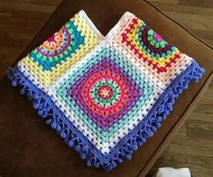*Large granny squares will create this poncho.~