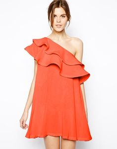 wedding guest dress// coral one shoulder ruffle dress $73