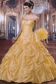 1000 ideas about yellow wedding dresses on pinterest for Wedding dress like belle from beauty and the beast
