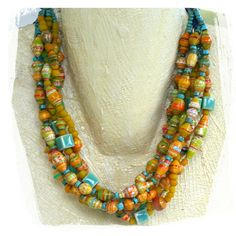 two yellow red aqua paper bead necklaces to by rocksandpaperswans, $69.00 Love her work!