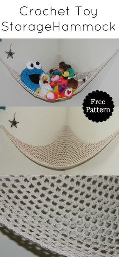 Crochet Toy Storage Net Hammock Need more storage for your child's stuffed animals? Make this super easy cotton hammock! This simple design works up very [. Crochet Gratis, Cute Crochet, Crochet For Kids, Crochet Cardigan, Crotchet, Crochet Toys Patterns, Crochet Dolls, Crochet Baby Toys, Hat Patterns