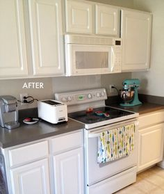 'Rustoleum Counter Top Coating Paint' in Pewter from Home Depot (not to be confused with 'Countertop Transformations', which is a more complicated and expensive product that they sell)