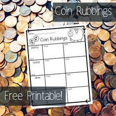 Introduce coins to your kindergarten and first grade students with Coin Rubbings! Your students will LOVE this activity and will get a chance to look closely at each coin. Grab this free printable! Preschool Workbooks, Homeschool Math, Homeschooling, Teaching Money, Teaching Math, Money Activities, Montessori Activities, Math Resources, Kindergarten Lesson Plans