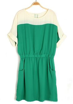 Green Patchwork Short Sleeve Pockets Chiffon Dress