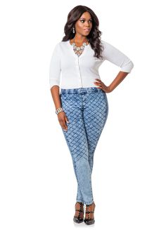 Quilted Skinny Pull On Jeans - Ashley Stewart