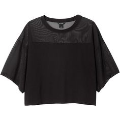 Monki Umi cut mesh tee (1.225 RUB) ❤ liked on Polyvore featuring tops, t-shirts, shirts, crop tops, black magic, t shirts, black t shirt, black shirt, black mesh t shirt and crop top