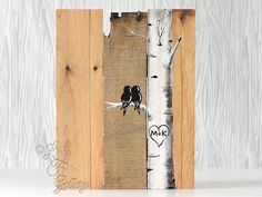 Arbre signe signes bois récupéré bois Art Love Bird signe