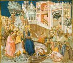 Pietro Lorenzetti (c. 1280 - 1348) Assisi Frescoes: Entry into Jerusalem Fresco, about 1320 ower Basilica, San Francesco, southern transept, Assisi, Italy
