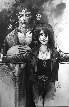 sandman morte e morpheus por Eddy Newell Enter Sandman, Neil Gaiman, Comic Books Art, Comic Art, Book Art, Morpheus Sandman, Cyberpunk, Dc Comics, Fantasy Art