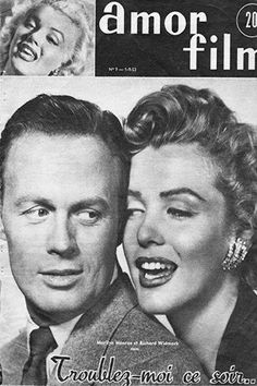 "1953 September issue: Amor Film French magazine cover, Marilyn Monroe & Richard Widmark promoting the film ""Don't Bother To Knock""   .... #marilynmonroe #normajeane #magazinecovers #raremagazine #vintagemagazine #pinup #iconic #1953 #RichardWidmark #AmorFilm"