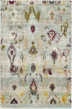 Floral Sari Silk Hand Knotted Gray Rug 4' x 6'