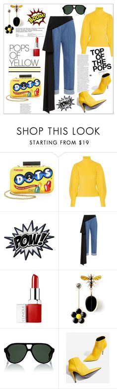 """Yellow...."" by nihal-imsk-cam on Polyvore featuring Alice + Olivia, Thierry Mugler, Pôdevache, Clinique, Gucci, Topshop, yellow, gethappy, polyvoreeditorial and polyvorecontest"