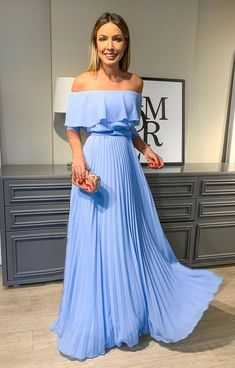 New Arrival Bridesmaid Dress Long Formal Gown Off The Shoulder Chiffon Light Blue Prom Dresses Light Blue Bridesmaid Dresses, Prom Dresses Blue, Strapless Dress Formal, Evening Dresses, Chiffon Dresses, Bridesmaid Gowns, Dress Prom, Elegant Dresses, Pretty Dresses