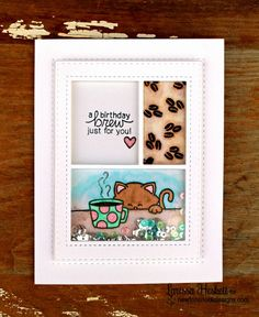 Coffee Cat Inky Paws Challenge Card by Larissa Heskett   Newton Loves Coffee stamp set by Newton's Nook Designs #newtonsnook #coffee