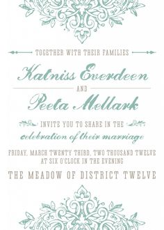 What do you think of this Hunger Games-inspired wedding invitation?