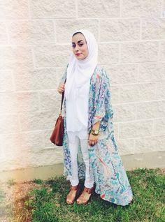 Cute cardigan! Modest Fashion Hijab, Street Hijab Fashion, Muslim Fashion, Ethnic Fashion, Women's Fashion, Kimono Outfit, Hijab Dress, Hijab Outfit, Turban
