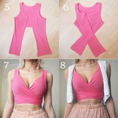 Ideas for diy ropa vieja crop tops Diy Crop Top, Diy Kleidung, Refashioning, Clothing Hacks, Sewing Clothes, Diy Clothes Tops, Diy Clothes For Summer, Diy Yoga Clothes, Diy Clothes Hacks