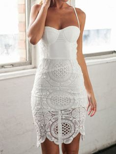 White Crochet Lace Panel Split Back Spaghetti Strap Bodycon Dress | Choies | re-pinned by www.wfpcc.com