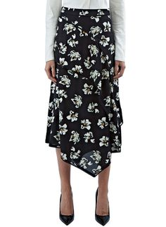 Women's Skirts - Clothing | Order Now at LN-CC - Floral Asymmetric Layered Skirt
