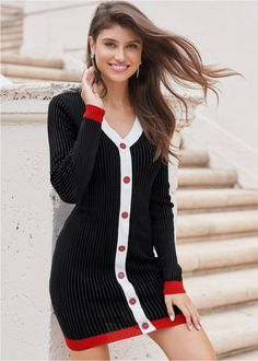 💥 BUTTON DETAIL SWEATER DRESS Cozy and classy is the ultimate fall vibe. Boasting a button-up look without any of the effort, this piece graces your figure with a slimmed and elongated appearance, thanks to the V-neck styling, thick ribbing and contrasting center stripe. #Fashion #casualdress #outfit #womenswear #womensclothing #clothing #clothes #shoppingonline #chic #apparel #shopping #dresstoimpress #fallfashion #sweaterweather #streetstyle