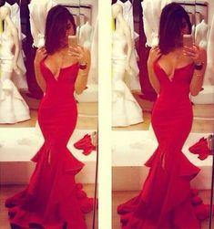 Charming Simple Red Prom Dress,Sexy Deep V-Neck Sleeveless Evening Dress,Sexy Backless Split Prom Dress