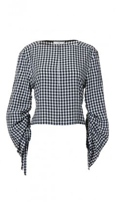Tibi Boatneck Top in Black and White Gingham