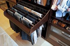 Isnt this a great idea?  This image is from LA Closet Designs, but I think that it is a completely achievable DIY project, without the inevitable price tag. on The Owner-Builder Network  http://theownerbuildernetwork.com.au/wp-content/blogs.dir/1/files/storage-ideas-1/81362328284.jpg