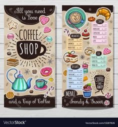Coffee shop brochure vector, cafe menu design, sketch style. Coffee, desserts, tea, breakfast, cakes, donut, croissant, quote, coffee take away. Lettering, cup, logo, trendy. Hand drawn vector. Download a Free Preview or High Quality Adobe Illustrator Ai, EPS, PDF and High Resolution JPEG versions.