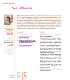 Veal Milanese - Rocco DiSpirito - The recipe! Veal Recipes, Yummy Recipes, Diet Recipes, Cake Recipes, Yummy Food, Veal Milanese, Milanese Recipe, Now Eat This, Veal Cutlet