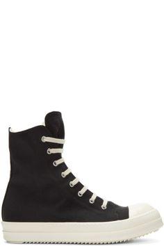 Rick Owens Nylon Canvas Cap Toe High-Top Sneakers vgiX6KHhc