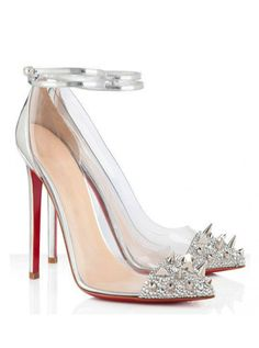 Glittering Silver Pointy Toe High Heels Adorned with Rhinestone R #a2zoffer