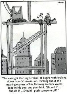 My favorite comic strip. The Far Side by Gary Larson. Far Side Cartoons, Far Side Comics, Funny Cartoons, Funny Comics, Funny Jokes, Hilarious, The Far Side Gallery, Gary Larson Far Side, Scary Quotes