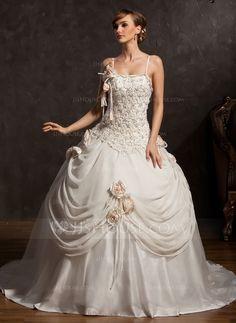 [MXN$ 5128] Corte de baile Cola capilla Chifón Satén Tul Vestido de novia con Encaje Bordado Flores (002015173)