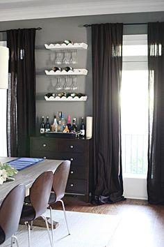 "Ikea RITVA dark brown linen curtains at 108"""