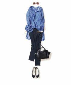kk-c ~lisa〃 Light blue tunic top, skinny jeans, ballet flats